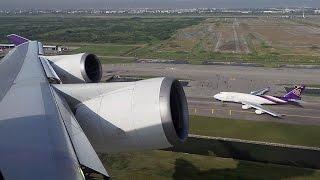 Amazing takeoff and landing wing views onboard Thai Airways B747-400
