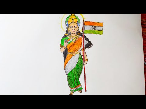 How To Draw Bharat Mata Easy Step By Step