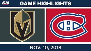 NHL Highlights | Golden Knights vs. Canadiens – Nov. 10, 2018