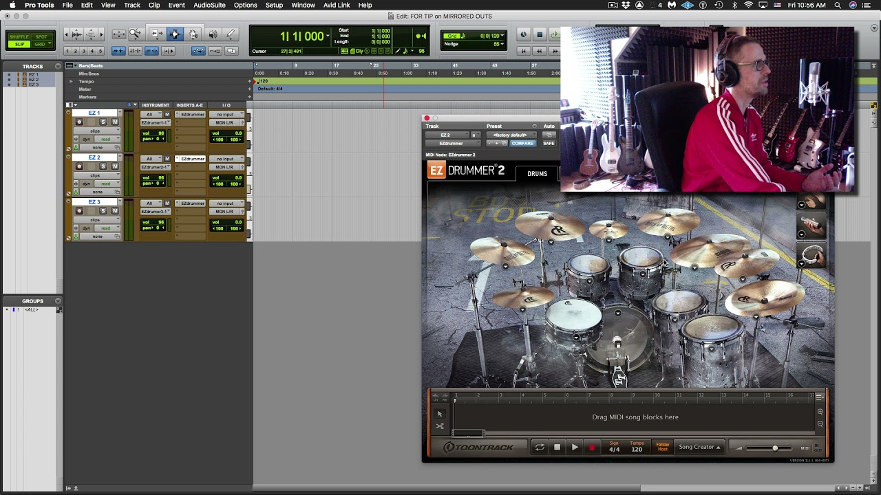 Layering EZ Drummer / Virtual Instruments with Output Mirroring in Pro Tools