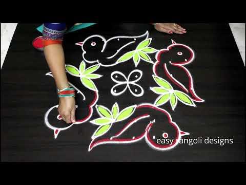 Beautiful Birds kolam with 8x4 dots - Sankranthi muggulu