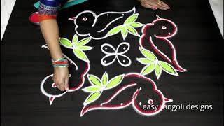 Beautiful Birds kolam with 8x4 dots - Sankranthi muggulu