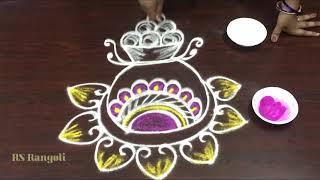 12 easy & simple Bogi pots kolam || How to draw simple Bogi pots muggulu for sankranthi festival