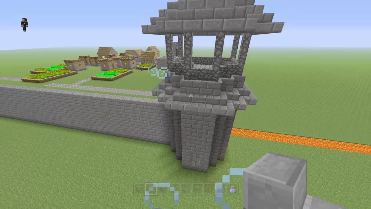 Minecraft Castle Walls Towers Outside Youtube