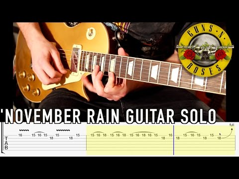 'November Rain' by GNR - End Guitar Solo - Lesson with TABS