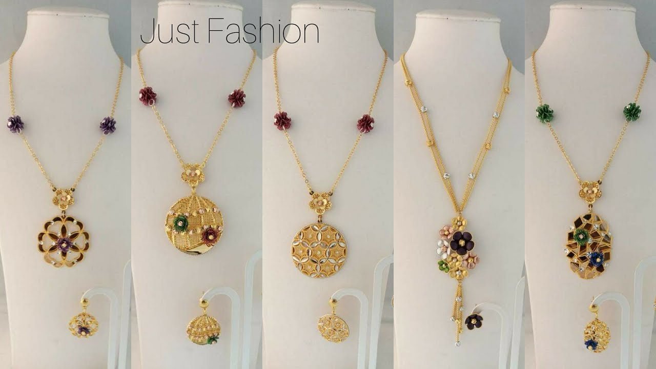 Light Weight Gold Fancy Chain Pendant Sets Youtube