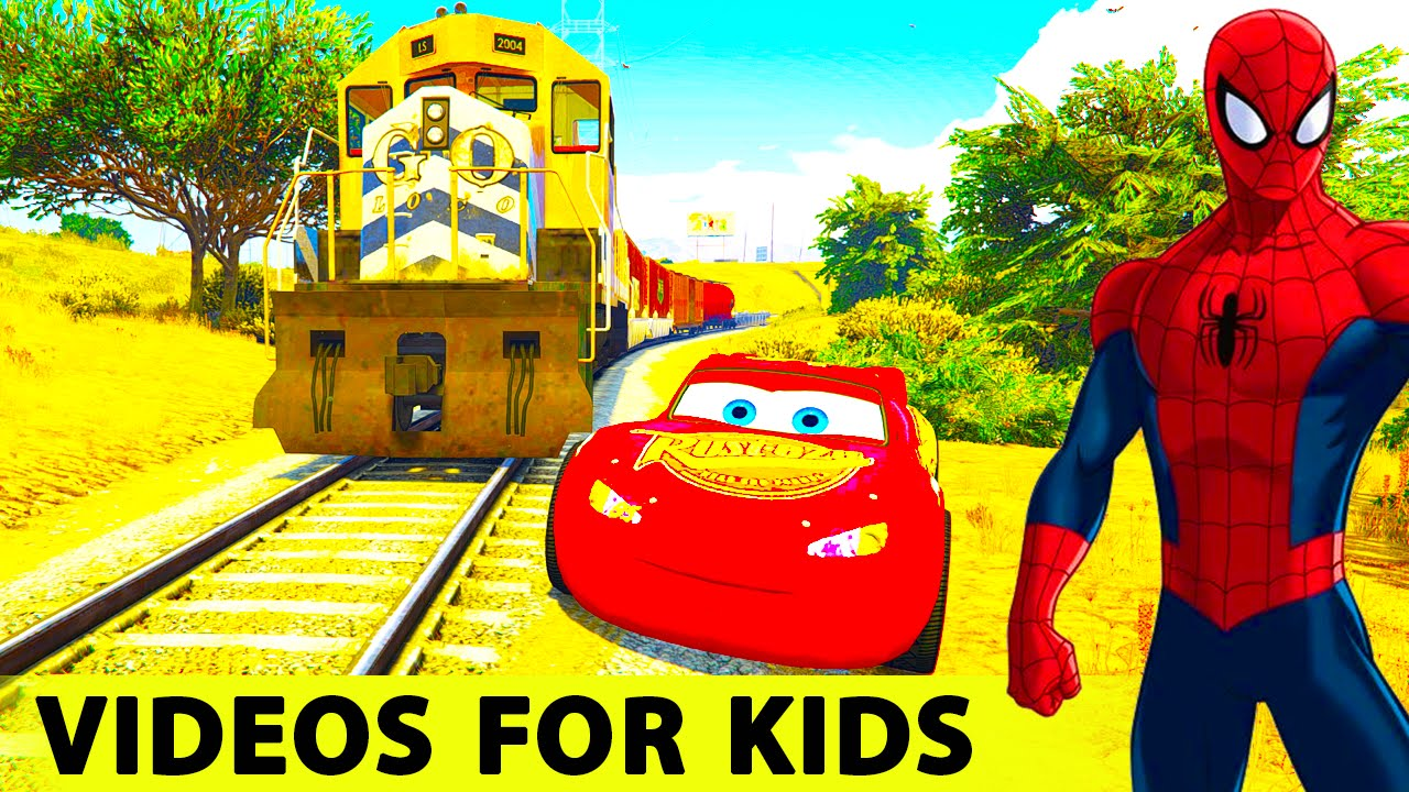 lightning mcqueen cars spiderman cartoon for kids and children w nursery rhymes songs video