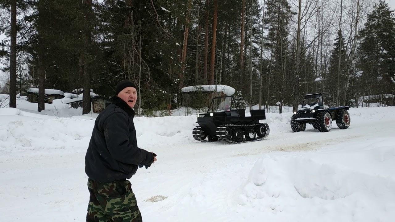 Тест драйв гусеничного и колёсного болотоходы по снегу