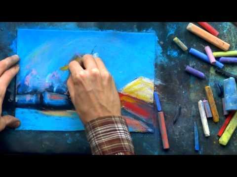 рисование зимнего пейзажа, художник из Сибири Александр Алёнин