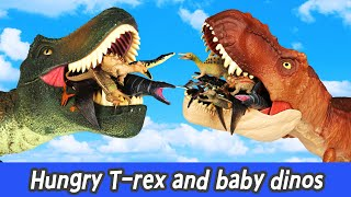 Hungry T-rex and baby dinos, dinosaurs cartoons for kids, dinos nameㅣCoCosToy