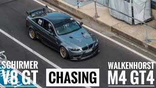 Street legal SCHIRMER E92 M3 chasing Knuffi BMW M4 GT4 racecar | VLN practice