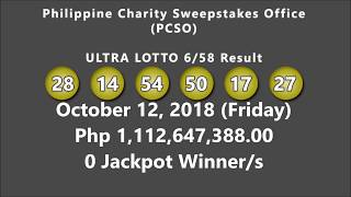 PCSO ULTRA Lotto 6/58 Result October 12, 2018 (Friday)