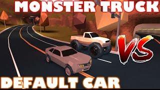 ROBLOX JAILBREAK DEFAULT CAR VS MONSTER TRUCK! [VEHICLE SPEED TEST]