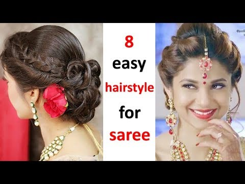 8 beautiful hairstyle ( navratri special hairstyle ) || messy bun || bun hairstyle || easy hairstyle thumbnail