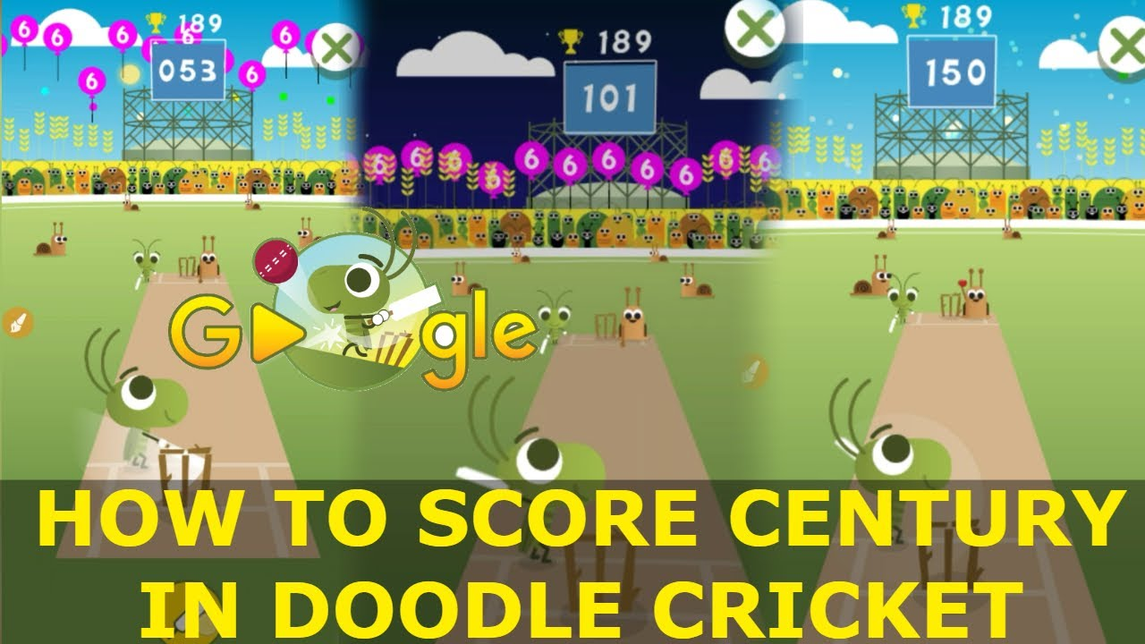 How To Score Century In Doodle Cricket Icc Champions Trophy 2017 Google Doodle