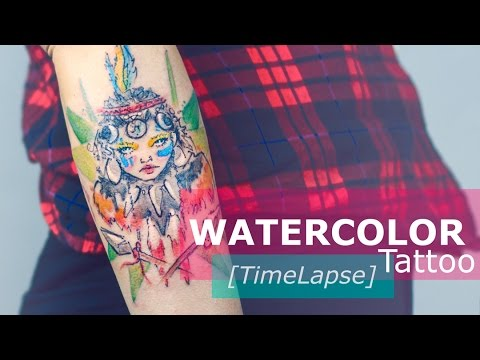 WATERCOLOR TATTOO Step by Step TIMELAPSE by Candelaria Carballo