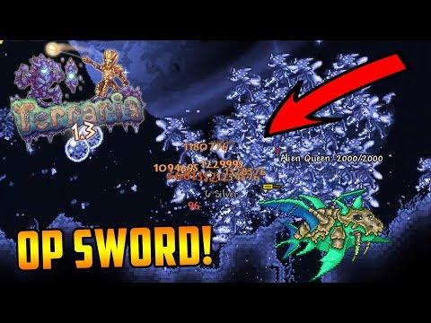 OVERPOWERED MODDED SWORD! TERRARIA OP SWORD - 1 HIT BOSSES!