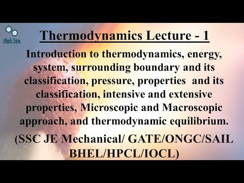Thermodynamics Lecture 1 for GATE, SSC JE, ESE and PSU