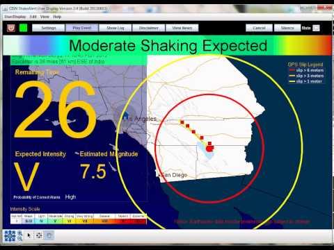 ShakeAlert GPSlip for ShakeOut scenario