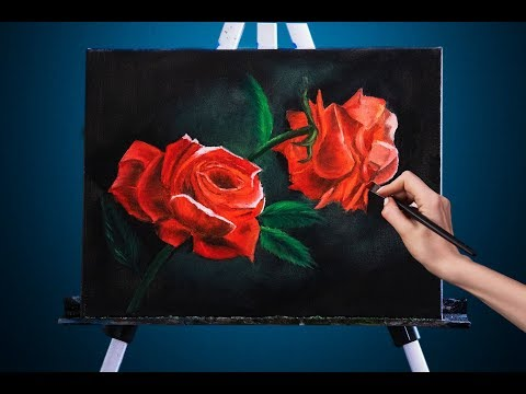 Красные розы / картина маслом /oil Flowers Painting /rose Painting Tutorial Oil