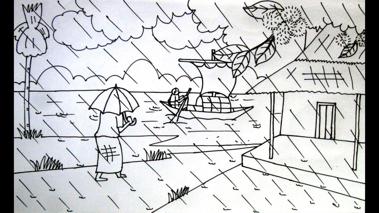 How to draw a scenery of rainy season very easy