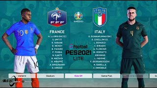 PES 21 France vs Italy football match in HD Euro Cup 2021 National Team Tour