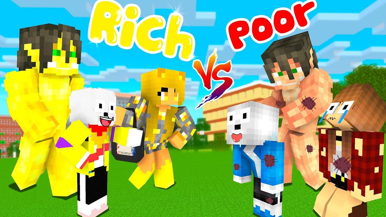 Monster School Rich and Poor Titan, Sans Sad Life - Minecraft Animation