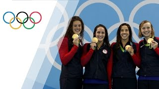 USA wins gold in Women's 4X200 Freestyle Relay