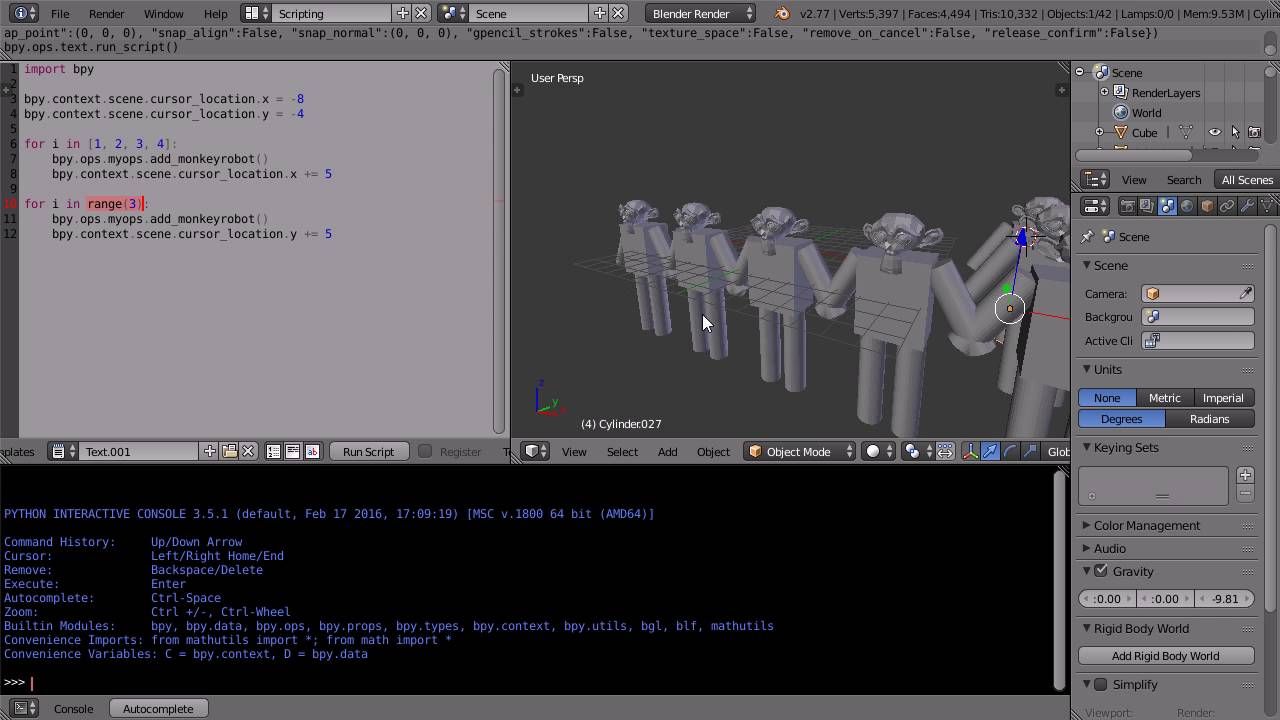 Blender Python Scripting Tutorial Creating a New Operator That Makes ...