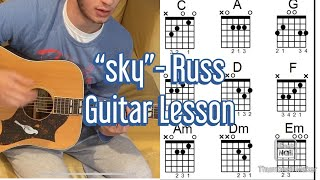 """HOW TO PLAY - """"Sky"""" by Russ (ft. Boogie) EASY/BEGINNER Guitar Lesson"""