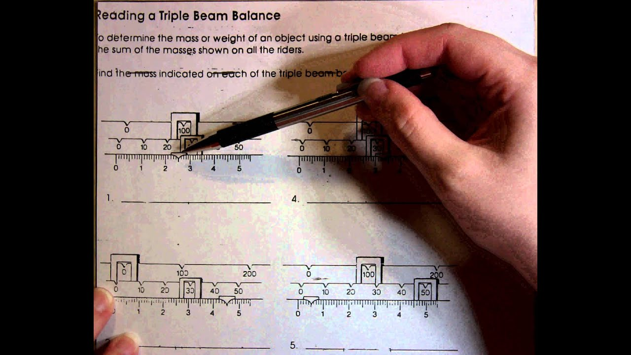 Reading a Triple Beam Balance YouTube – Triple Beam Balance Practice Worksheet