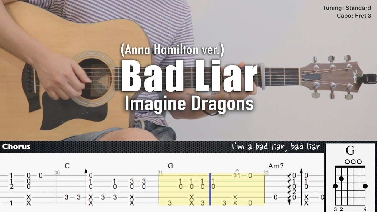 Bad Liar (Anna Hamilton ver.) - Imagine Dragons | Fingerstyle Guitar | TAB + Chords + Lyrics