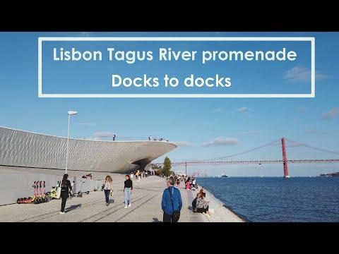[4K] Walking along Rio Tejo in Lisbon (Tagus River) - Docks to docks - Part 1