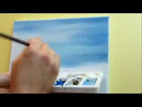 Part 1 Acrylic Landscape How To Paint A Blue Sky