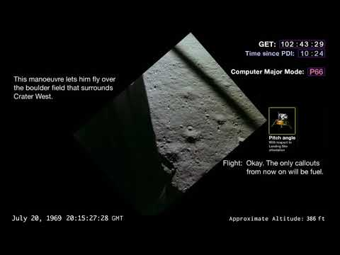 Apollo 11 final descent and landing with telemetries and alarm