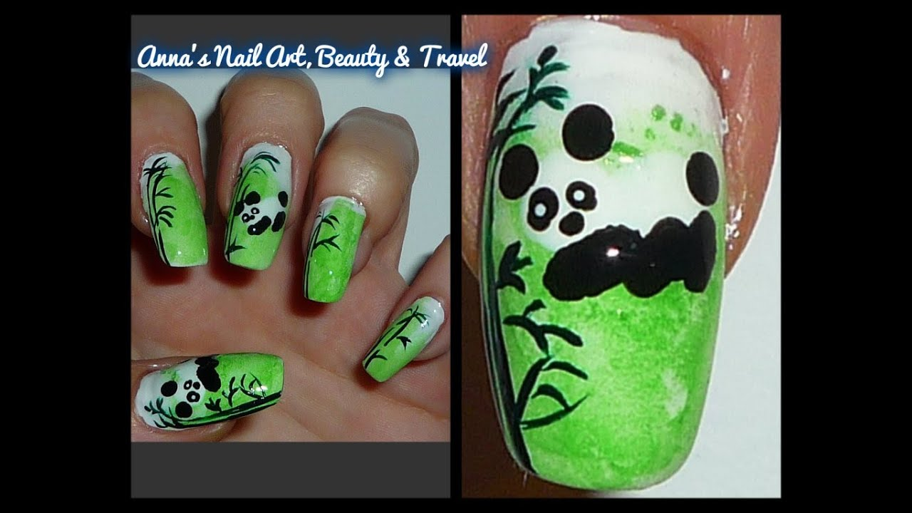 Cute panda and bamboo nail design youtube prinsesfo Gallery