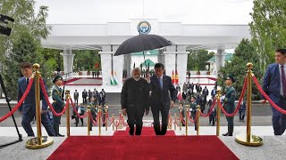 PM Narendra Modi accorded Guard of Honor at Bishkek, Kyrgyzstan