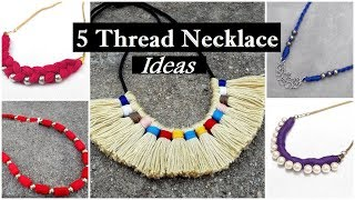How To Make Thread Necklace At Home |Thread Necklace Making At Home | DIY |Creation&you