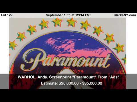 """WARHOL, Andy. Screenprint """"Paramount"""" From """"Ads"""""""