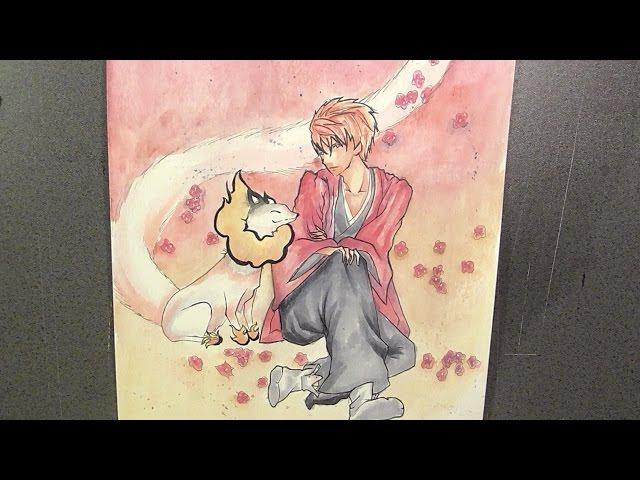 Drawing Haruitsuki Abeno from Fukigen na Mononokean ????????? [Watercolor paint]