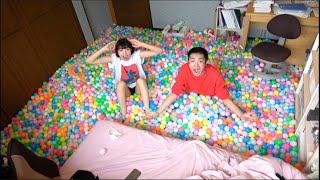 妹の部屋に100000個のカラーボール埋め尽くした。家族閉じ込め24時間