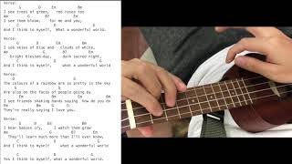 What a Wonderful World in G key Ukulele Tutorial Play along Sing Along