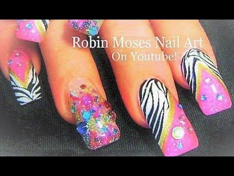 black and white zebra print nails
