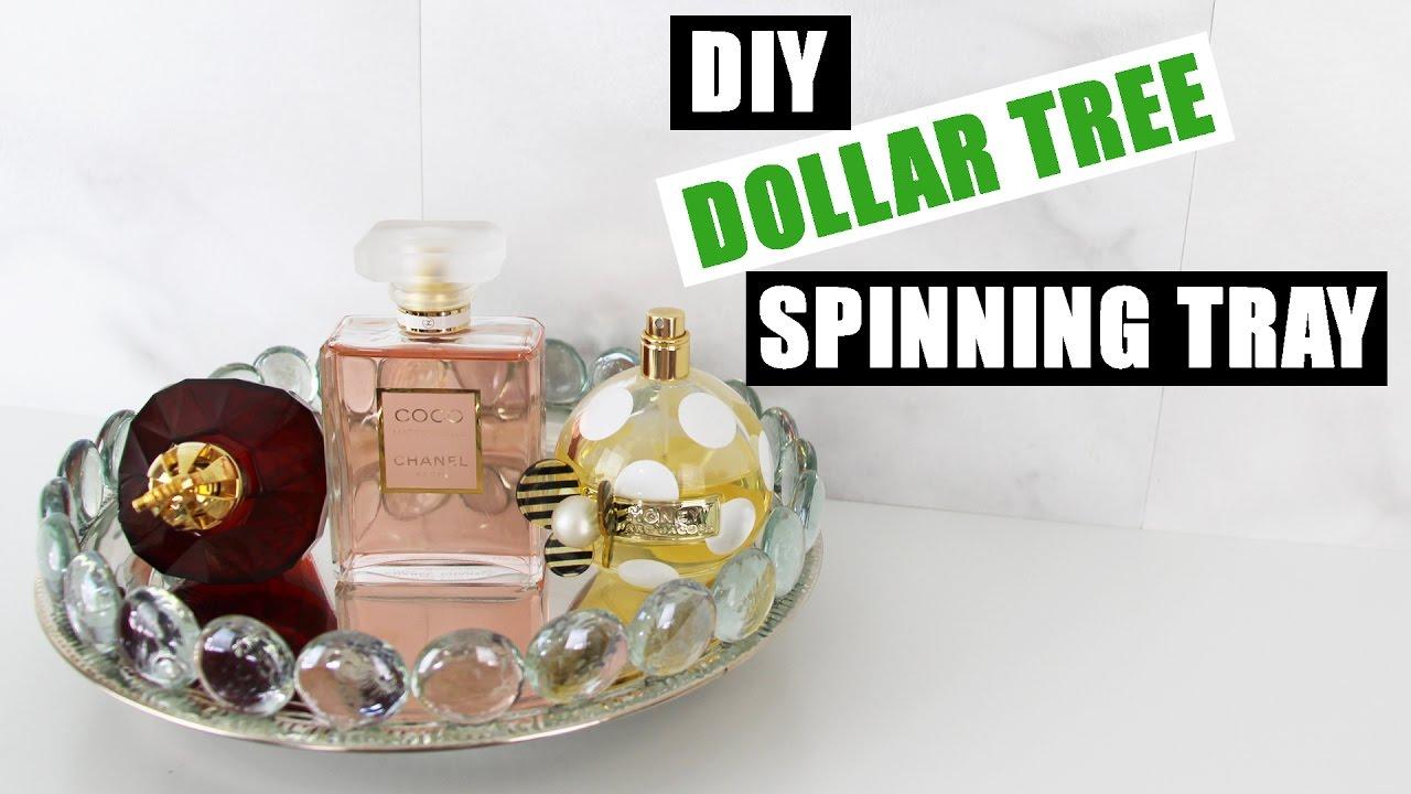 Diy Dollar Tree Glam Spinning Vanity Tray Z Gallerie Inspired Mirror Perfume Room Decor