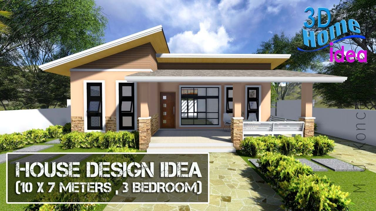 House Design Idea ( 10 x 7 meters , 3 Bedroom)