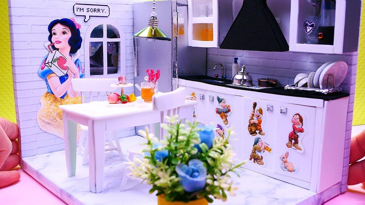 DIY Miniature Dollhouse Snow White Room Decor, Kitchen and more