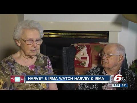 Elderly couple named Harvey and Irma watch Hurricanes Harvey and Irma hit the coast