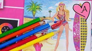 Juego de vestir a Barbie de rockera, bailarina, pastelera y salvavidas - Libro de colorear