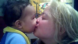 Baby Rashali kissing mommy for a long time.