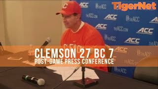 Clemson 27 BC 7: Dabo Swinney post game press conference